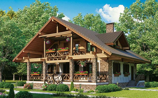 деревянный дом 232 кв.м, rounded log house 232 m2