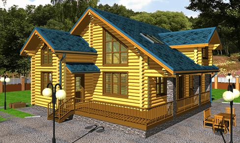 деревянный дом 383 кв.м, rounded log house 383 m2