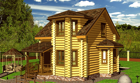 rounded log house 100 m2