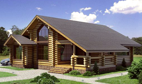 rounded log house 113 m2