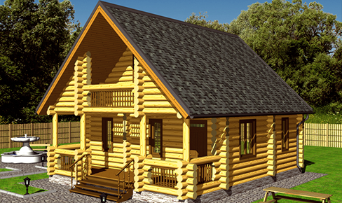 rounded log house 115 m2