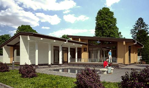деревянный дом 165 кв.м, glued beam house 165 m2