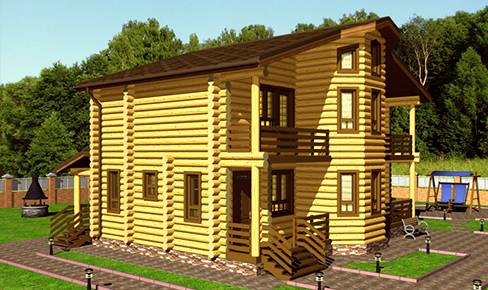 деревянный дом 190 кв.м, rounded log house 190 m2