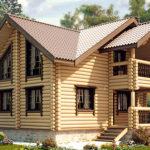 деревянный дом 196 кв.м, rounded log house 196 m2