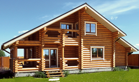 rounded log house 208 m2