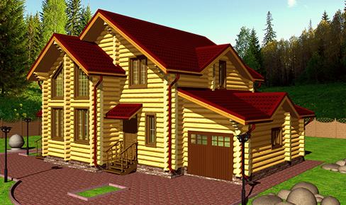 деревянный дом 210 кв.м, rounded log house 210 m2