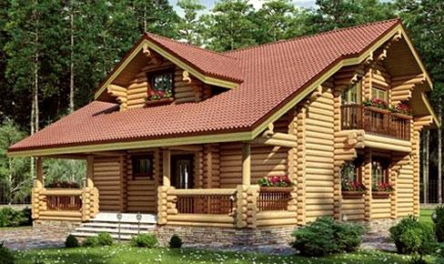 деревянный дом 211 кв.м, rounded log house 211 m2