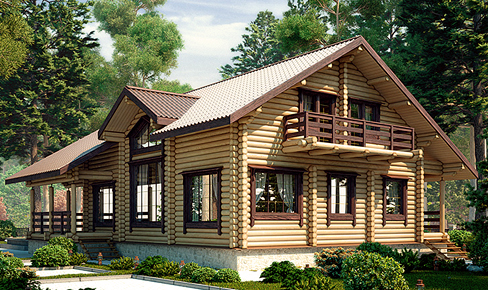 rounded log house 219 m2