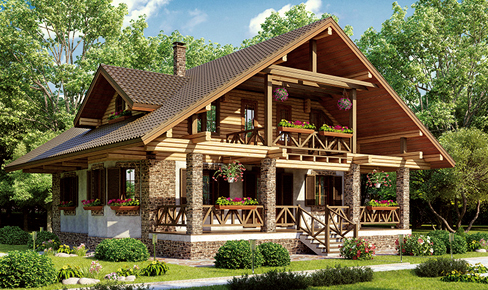 rounded log house 232 m2