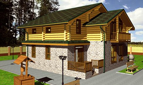 деревянный дом 235 кв.м, rounded log house 235 m2
