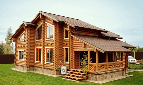 rounded log house 241 m2