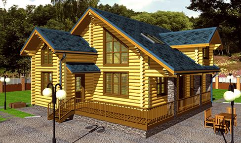 деревянный дом 250 кв.м, rounded log house 250 m2