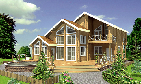 rounded log house 305 m2