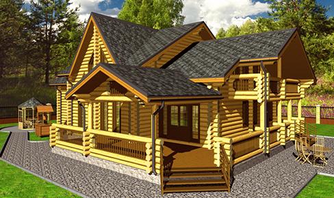 деревянный дом 350 кв.м, rounded log house 350 m2