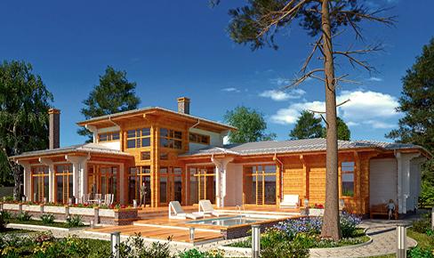 деревянный дом 355.1 кв.м, profiled timber house 355 m2