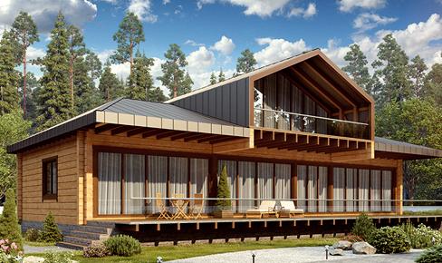 деревянный дом 357.2 кв.м, profiled timber house 357 m2