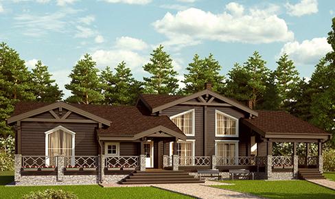 деревянный дом 357 кв.м, profiled timber house 357 m2