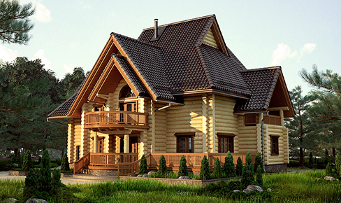 rounded log house 420 m2