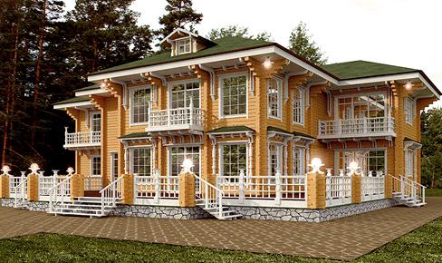 деревянный дом 550 кв.м, profiled timber house 550 m2