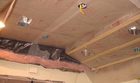 пароизоляция потолка, ceiling hydro block film mounting