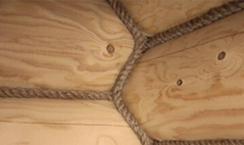 декорирование веревкой, log decor with rope