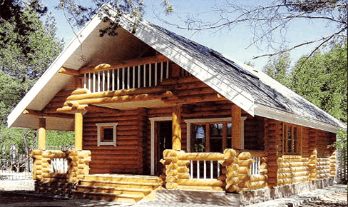 rounded log house 105 m2