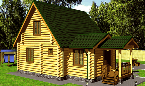 rounded log house 110 m2