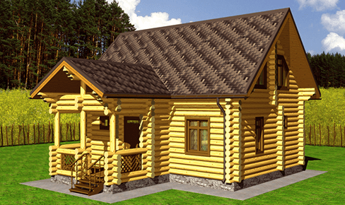 rounded log house 120 m2