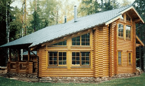 rounded log house 141 m2